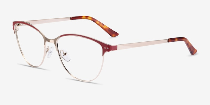 Rosa Red & Gold Metal Eyeglass Frames from EyeBuyDirect, Angle View