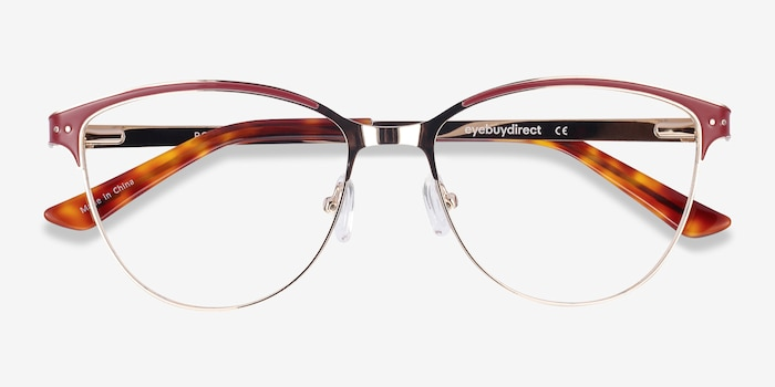 Rosa Red & Gold Metal Eyeglass Frames from EyeBuyDirect, Closed View