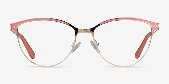 Rosa Gold Pink Metal Eyeglass Frames from EyeBuyDirect, Front View