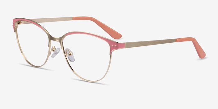 Rosa Gold Pink Metal Eyeglass Frames from EyeBuyDirect, Angle View