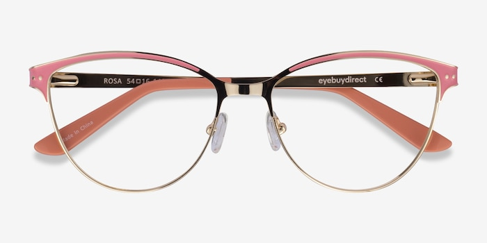 Rosa Gold Pink Metal Eyeglass Frames from EyeBuyDirect, Closed View