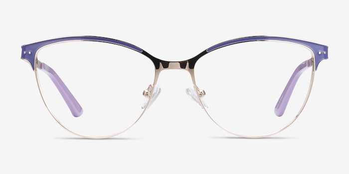 Rosa Purple & Gold Metal Eyeglass Frames from EyeBuyDirect, Front View