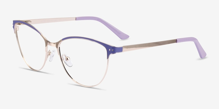 Rosa Purple & Gold Metal Eyeglass Frames from EyeBuyDirect, Angle View