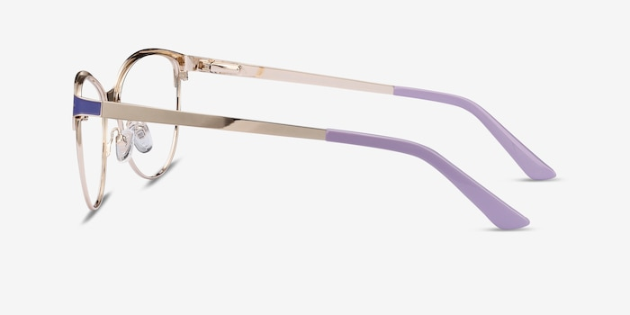 Rosa Purple & Gold Metal Eyeglass Frames from EyeBuyDirect, Side View