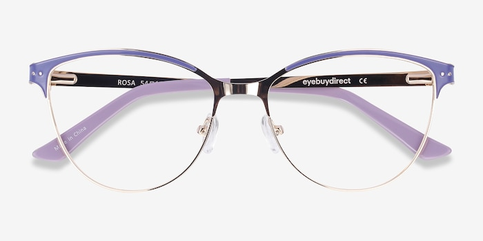 Rosa Purple & Gold Metal Eyeglass Frames from EyeBuyDirect, Closed View