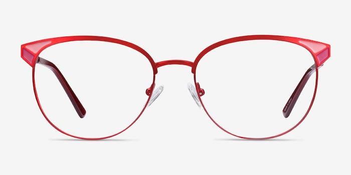 Niki Rouge Métal Montures de Lunette de vue d'EyeBuyDirect, Vue de Face