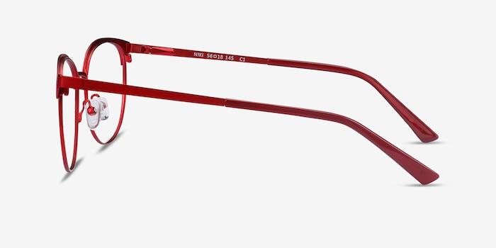 Niki Rouge Métal Montures de Lunette de vue d'EyeBuyDirect, Vue de Côté
