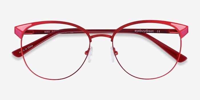 Niki Rouge Métal Montures de Lunette de vue d'EyeBuyDirect, Vue Rapprochée