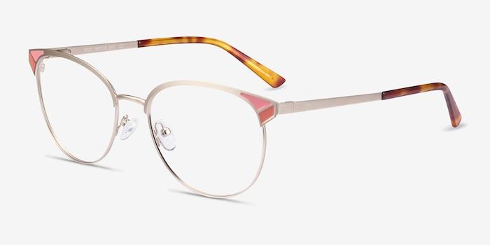 Niki Gold Metal Eyeglass Frames from EyeBuyDirect, Angle View