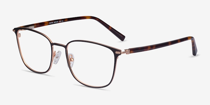 River Black Rose Gold Acetate-metal Eyeglass Frames from EyeBuyDirect, Angle View