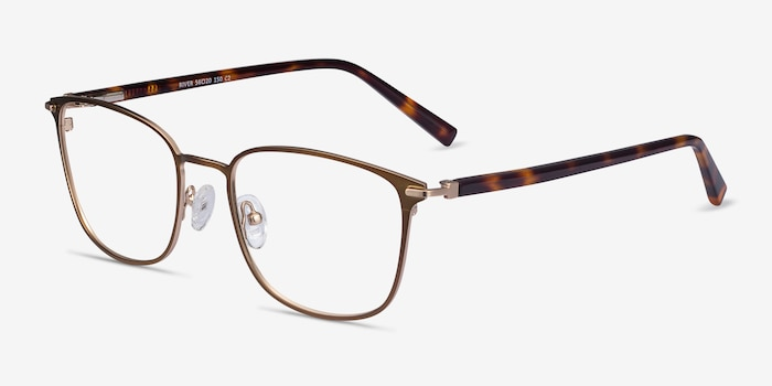 River Bronze & Gold Acetate Eyeglass Frames from EyeBuyDirect, Angle View