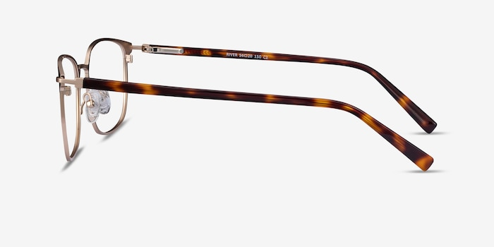 River Bronze & Gold Acetate Eyeglass Frames from EyeBuyDirect, Side View