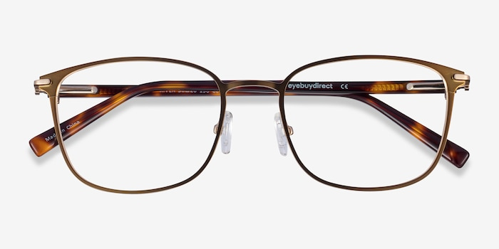 River Bronze & Gold Acetate Eyeglass Frames from EyeBuyDirect, Closed View
