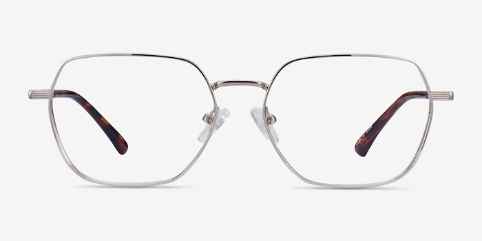 Marlow Silver Metal Eyeglass Frames from EyeBuyDirect, Front View
