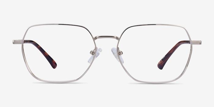 Marlow Argenté Métal Montures de Lunette de vue d'EyeBuyDirect, Vue de Face