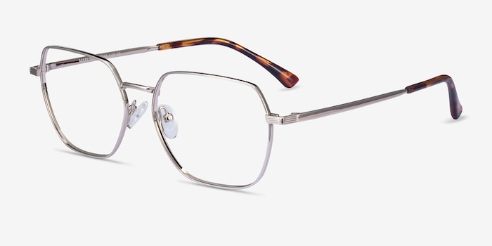 Marlow Silver Metal Eyeglass Frames from EyeBuyDirect, Angle View