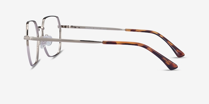 Marlow Silver Metal Eyeglass Frames from EyeBuyDirect, Side View