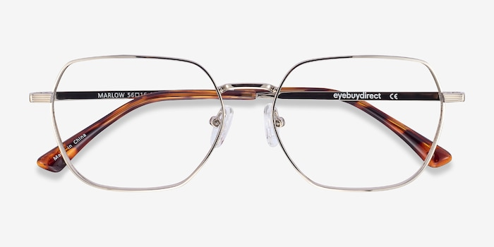 Marlow Silver Metal Eyeglass Frames from EyeBuyDirect, Closed View