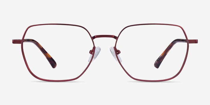 Marlow Red Metal Eyeglass Frames from EyeBuyDirect, Front View