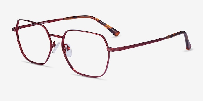 Marlow Red Metal Eyeglass Frames from EyeBuyDirect, Angle View