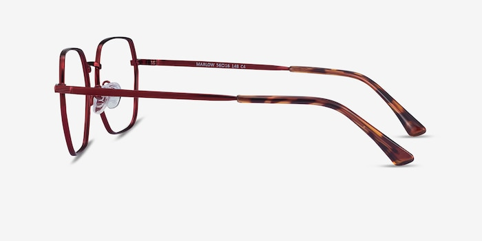 Marlow Red Metal Eyeglass Frames from EyeBuyDirect, Side View
