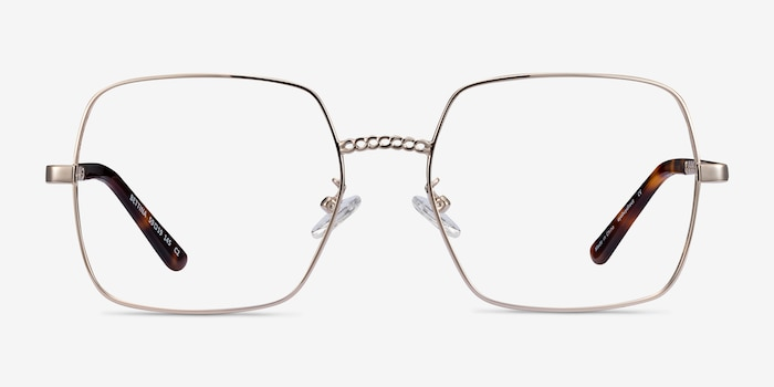Bettina Silver Metal Eyeglass Frames from EyeBuyDirect, Front View