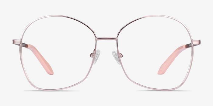 Bridget Pink Metal Eyeglass Frames from EyeBuyDirect, Front View