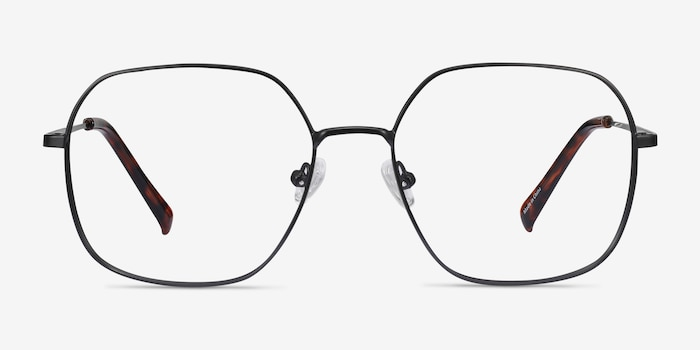 Reality Black Metal Eyeglass Frames from EyeBuyDirect, Front View
