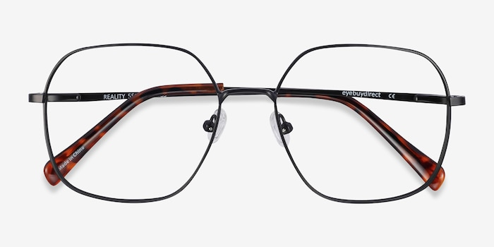 Reality Black Metal Eyeglass Frames from EyeBuyDirect, Closed View