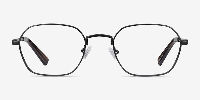 Space Matte Black Metal Eyeglass Frames from EyeBuyDirect, Front View