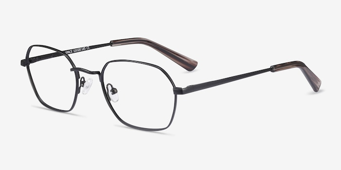 Space Matte Black Metal Eyeglass Frames from EyeBuyDirect, Angle View