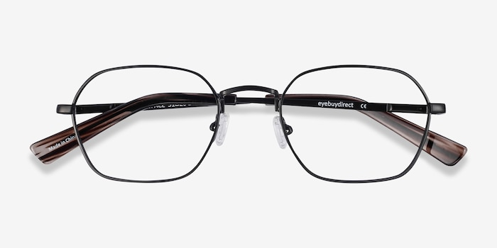 Space Matte Black Metal Eyeglass Frames from EyeBuyDirect, Closed View