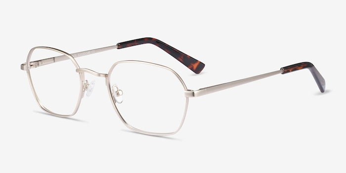 Space Gold Metal Eyeglass Frames from EyeBuyDirect, Angle View