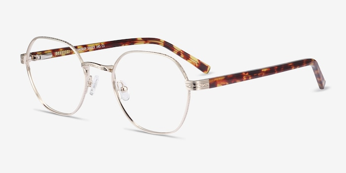 Fantasy Gold Acetate-metal Eyeglass Frames from EyeBuyDirect, Angle View