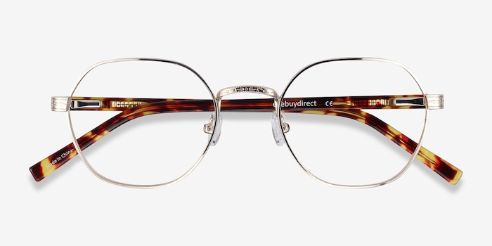 Fantasy Gold Acetate-metal Eyeglass Frames from EyeBuyDirect, Closed View