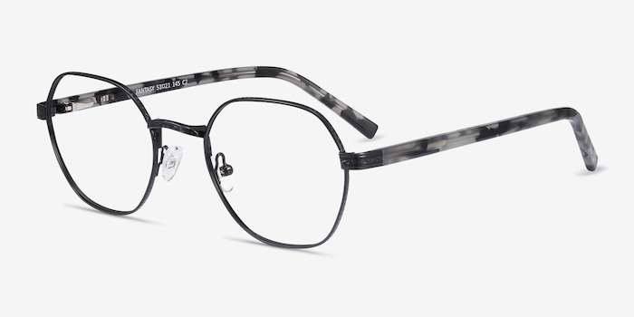 Fantasy Black Acetate Eyeglass Frames from EyeBuyDirect, Angle View