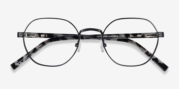 Fantasy Black Acetate Eyeglass Frames from EyeBuyDirect, Closed View