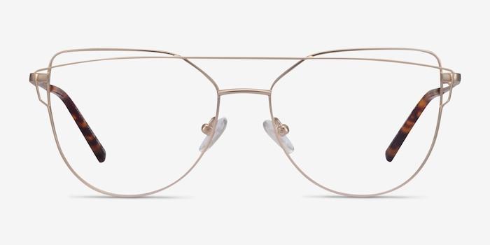 Surprise Matte Light Gold Metal Eyeglass Frames from EyeBuyDirect, Front View