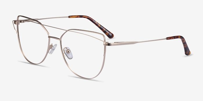 Surprise Matte Light Gold Metal Eyeglass Frames from EyeBuyDirect, Angle View