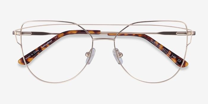 Surprise Matte Light Gold Metal Eyeglass Frames from EyeBuyDirect, Closed View