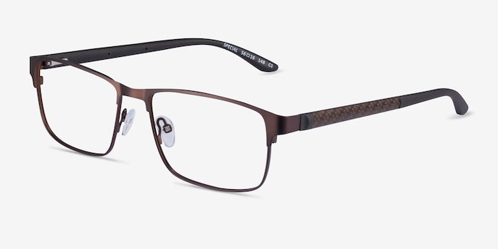 Special Brown Carbon-fiber Eyeglass Frames from EyeBuyDirect, Angle View