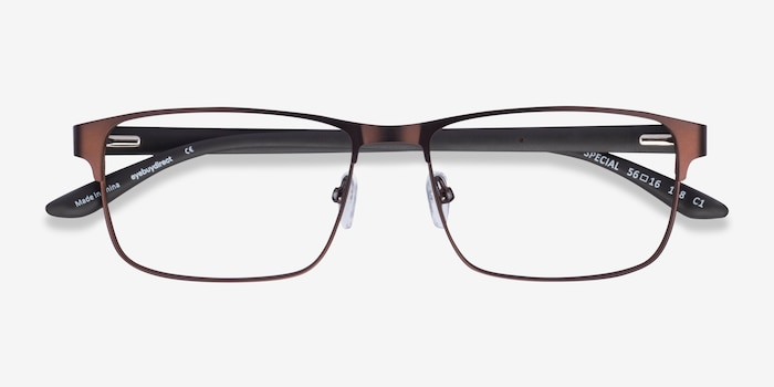 Special Brown Carbon-fiber Eyeglass Frames from EyeBuyDirect, Closed View