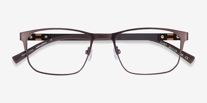 Clint Brown Carbon-fiber Eyeglass Frames from EyeBuyDirect, Closed View