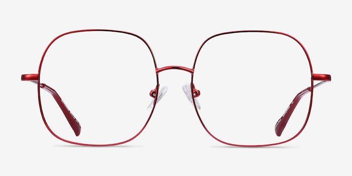 Movement Red Metal Eyeglass Frames from EyeBuyDirect, Front View