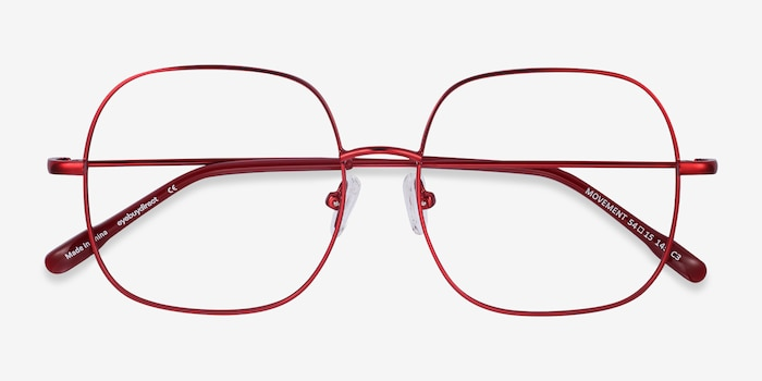 Movement Red Metal Eyeglass Frames from EyeBuyDirect, Closed View