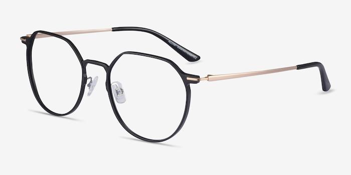 Alum Black & Gold Aluminium-alloy Eyeglass Frames from EyeBuyDirect, Angle View