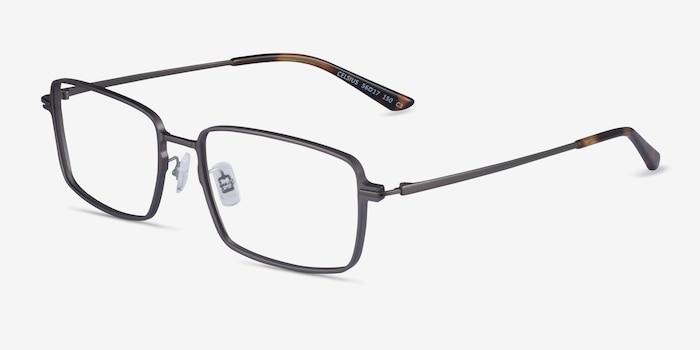 Celsius Gunmetal Aluminium-alloy Eyeglass Frames from EyeBuyDirect, Angle View