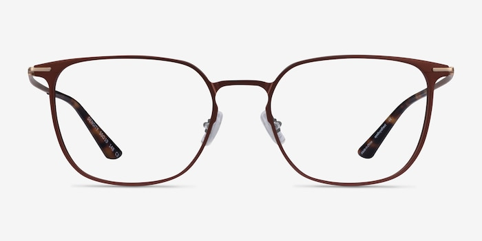 Density Brown & Gold Aluminium-alloy Eyeglass Frames from EyeBuyDirect, Front View