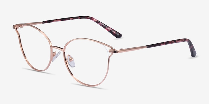 Trance Rose Gold Metal Eyeglass Frames from EyeBuyDirect, Angle View