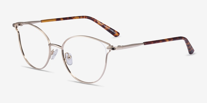 Trance Light Gold Metal Eyeglass Frames from EyeBuyDirect, Angle View